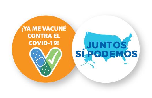 gráfico con eslogan, ¡Ya me vacuné contra el COVID-19! Juntos Sí Podemos