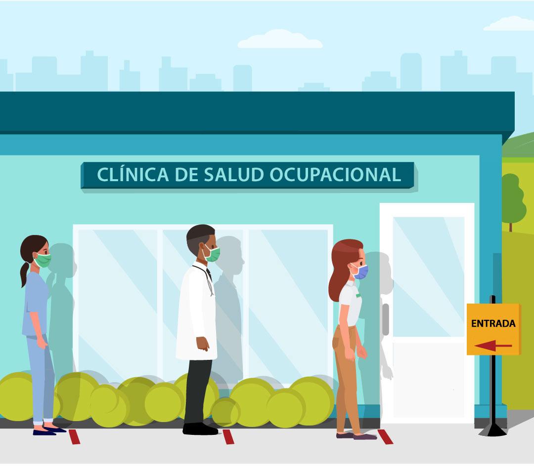 ilustración de personas esperando en fila para vacunarse