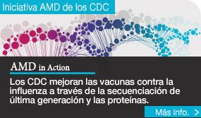 Iniciativa AMD de los CDC. Los CDC mejoran las vacunas contra la influenza a través de la secuenciación de última generación y las proteínas. Siga el enlace a Más información.