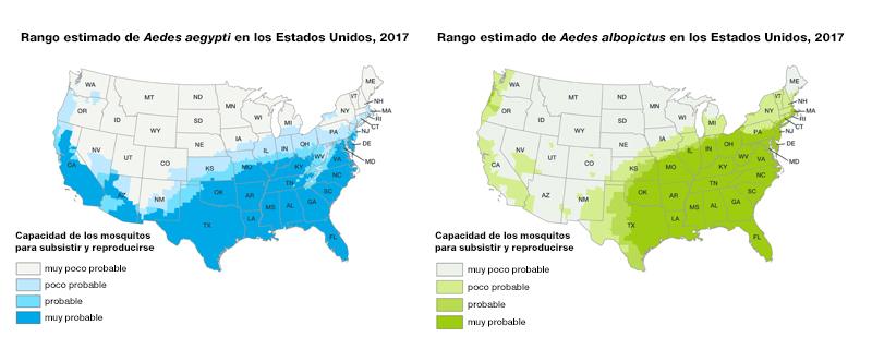 Dos mapas de los Estados Unidos que muestran áreas donde hay mosquitos Aedes aegypti y Aedes albopictus o donde se los ha encontrado anteriormente. El área de alcance del Aedes aegypti es la mitad sur de los Estados Unidos. El área de alcance del Aedes albopictus es la mitad oriental de los Estados Unidos, además del sudoeste