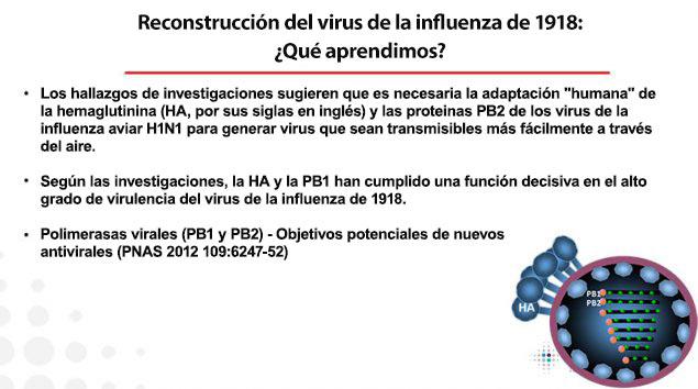 Esta imagen enumera las lecciones aprendidas del estudio del virus de1918 reconstruido en los CDC y por qué fue tan letal.