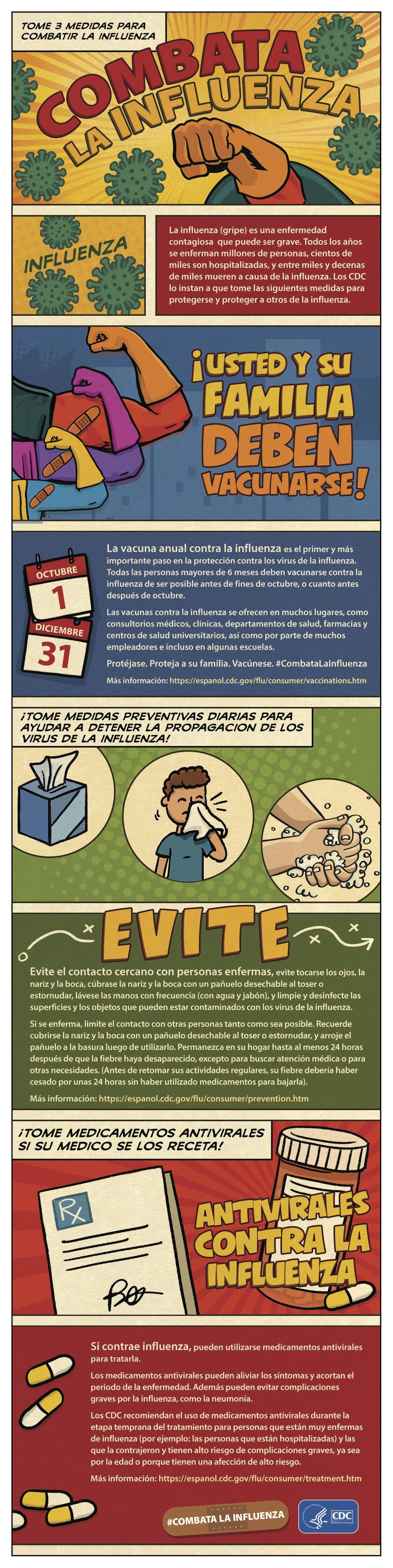 tome 3 medidas para combatir la influenza (afiche)