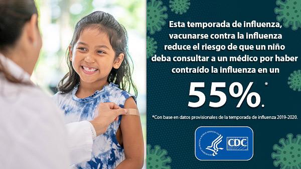Niño recibiendo la vacuna contra la influenza.