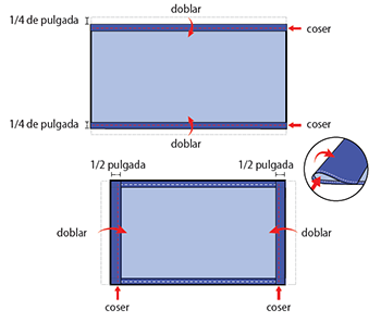The top diagram shows the two rectangle cloth pieces stacked on top of each other, aligning on all sides. The rectangle, lying flat, is positioned so that the two ten inch sides are the top and the bottom of the rectangle, while the two six inch sides are the left and right side of the rectangle. The top diagram shows the two long edges of the cloth rectangle are folded over and stitched into place to create a one-fourth inch hem along the entire width of the top and bottom of the rectangle. The bottom diagram shows the two short edges of the cloth rectangle are folded over and stitched into place to create a one-half inch hem along the entire length of the right and left sides of the face covering.