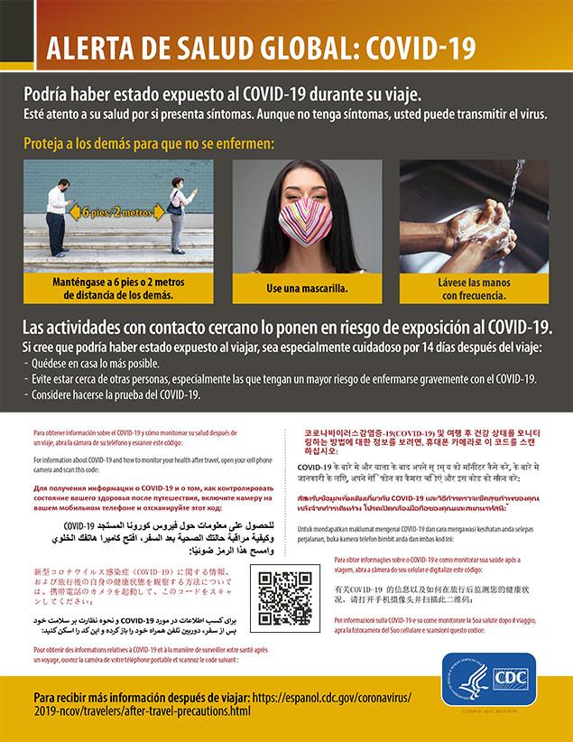 Alerta internacional de salud: COVID-19, cómo proteger a otras personas para que no se enfermen