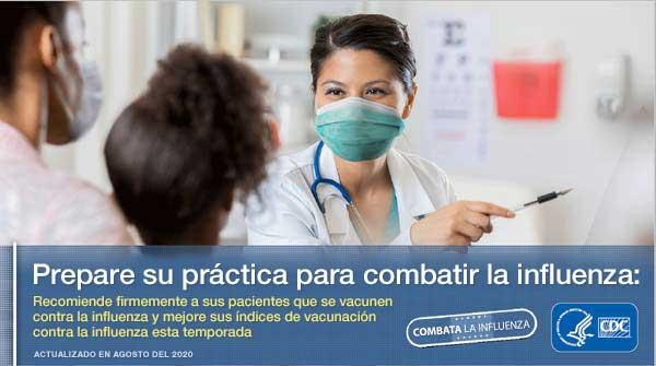imagen de un profesional de atención médica con mascarilla señalando con el texto Prepare su práctica para combatir la influenza